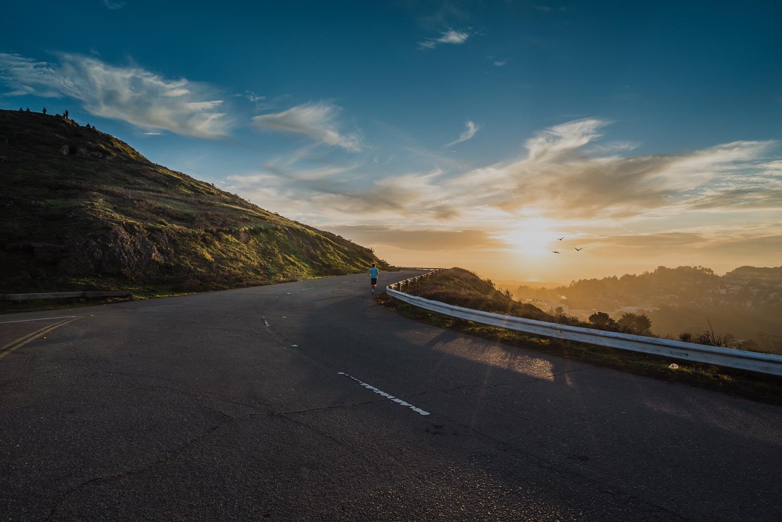 road-dawn-mountains-sky-darken