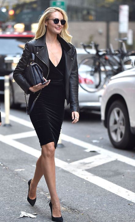 candice-swanepoel-black-dress-black-leather-jacket-style-outfit-h724