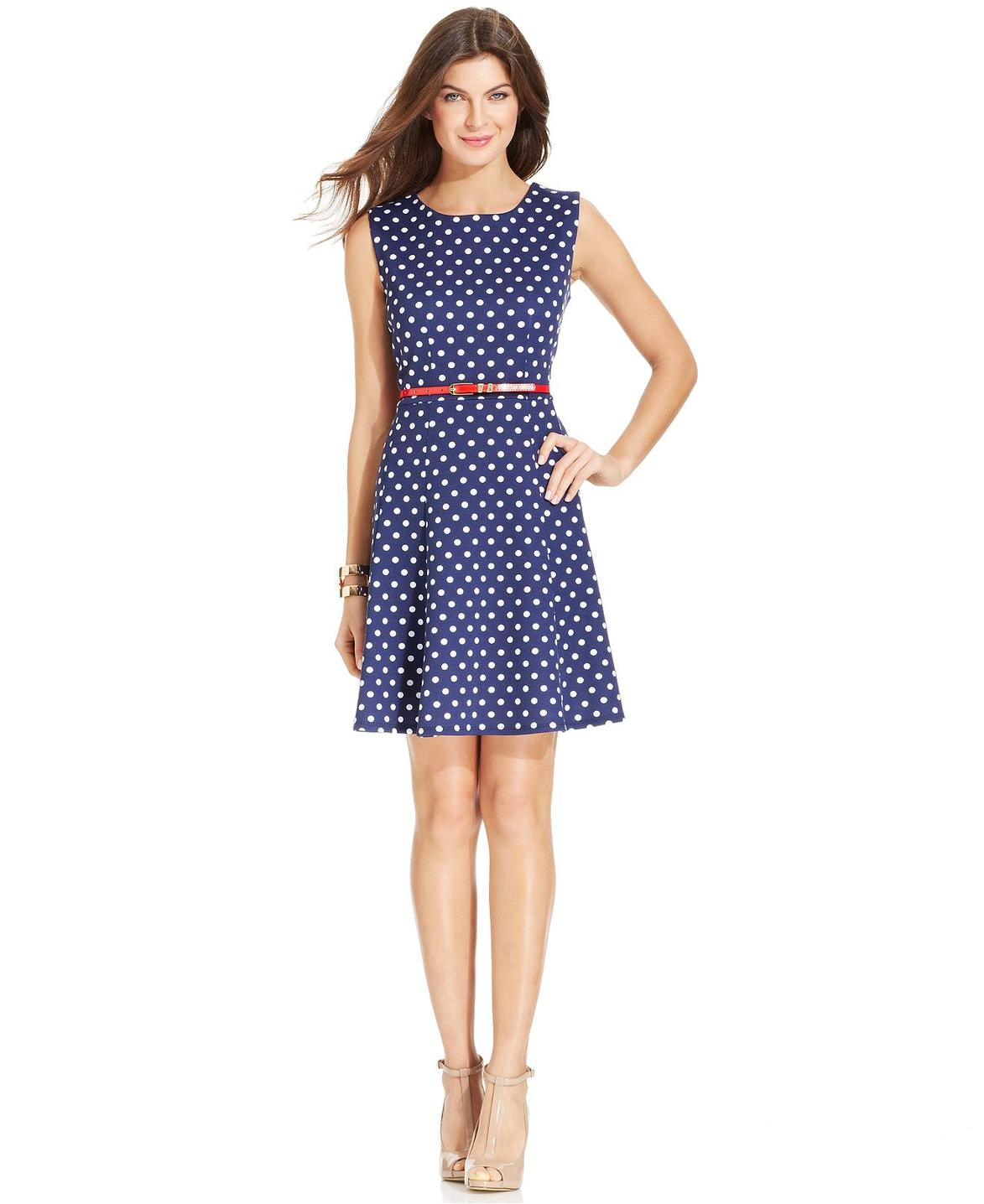 navy-pinball-element-elementz-petite-sleeveless-polka-dot-belted-a-line-dress-screen